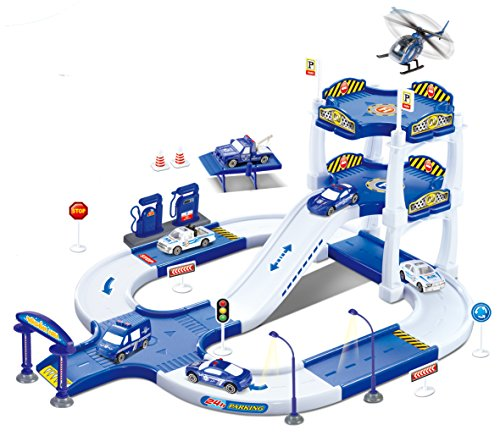 Diecast Import Cars - Liberty Imports My First Racing Parking Garage Diecast Police City Station Playset