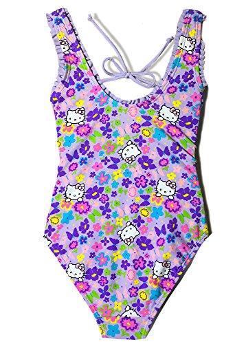 Girls' Hello Kitty Fringe One Piece Purple Swimsuit Swimwear Ruffle Bathing Suit (Purple, 5/6) by INGEAR (Image #1)