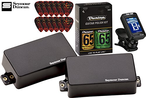 Seymour Duncan AHB-1s Blackout Active Humbucker Pickup Set - Bundle w/ Tuner, Picks & Care Kit Active Humbucker Pickup Set