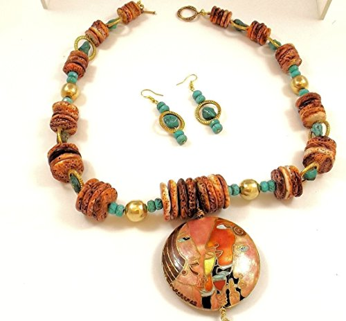 Turquoise Spiny Oyster Pendant Necklace Earring Set - Turquoise Collection (Oyster Costume)