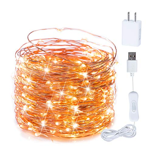 USB Fairy String Lights with ON/Off Switch, 66Ft 200LED Copper Wire Firefly String Lights for Bedroom Halloween Christmas Party Wedding Decor, Warm White (Lights On Wire String)