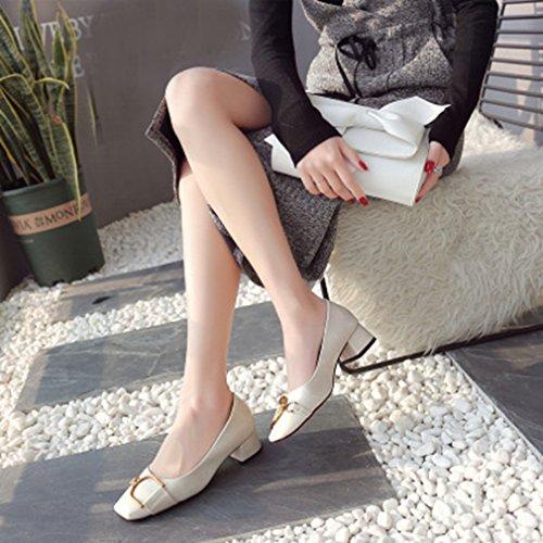Giy Donna Classic Mocassini Slip-on Fibbia Quadrata Toe Block Tacco Vestito Penny Loafer Oxford Pump Beige