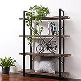 Cheap SUPERJARE 4-Shelf Industrial Bookshelf, Vintage Etagere Bookcase, Rustic Book Shelf – Walnut Brown