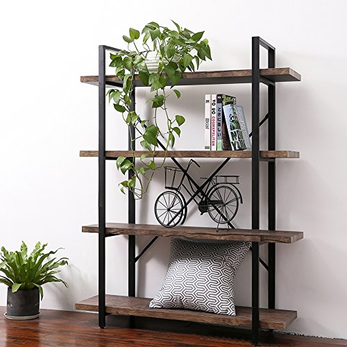 Cheap SUPERJARE 4-Shelf Industrial Bookshelf, Vintage Etagere Bookcase, Rustic Book Shelf – Walnut Brown