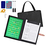 AGPTEK Soccer Coach Board Set with a Whistle & Carrying Bag, Folding Magnetic Marker Board, Marker Pen & Eraser