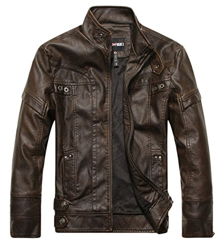 chouyatou Men's Vintage Stand Collar Pu Leather Jacket (Medium, DZQM769-Coffee)