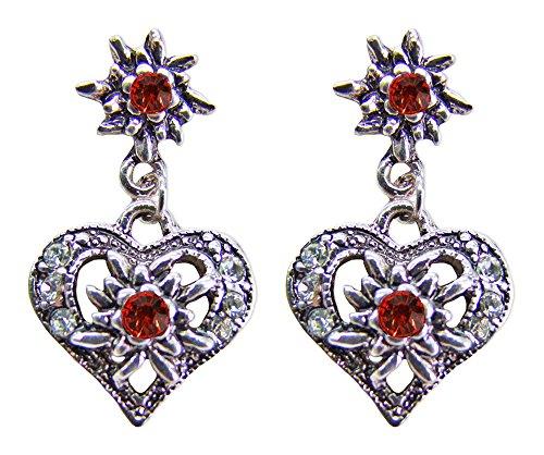 Herz Ohrringe - Stecker mit Edelweiß Rot