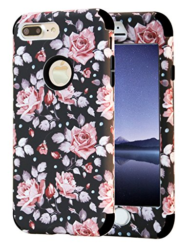 iPhone 7 Plus Case, iPhone 8 Plus Case, KAMII Flower Pattern Shockproof 3in1 Dual Layer TPU Bumper Hard PC Hybrid Defender Armor Case Cover for Apple iPhone 7 Plus /8 Plus (Rose Flower)