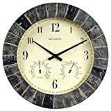 AcuRite 02418 14-Inch Faux-Slate Indoor/Outdoor Wall Clock with Thermometer, Hygrometer