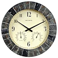 AcuRite 02418 Reloj de pared de interior /exterior de pizarra falsa de 14 pulgadas con termómetro, higrómetro