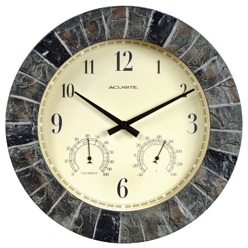 AcuRite 02418 14-Inch Faux-Slate Indoor/Outdoor Wall Clock with Thermometer, Hygrometer ()