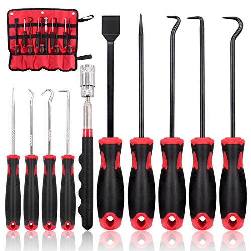 Swpeet 9Pcs Long Hook and Pick Set with Magnetic Telescoping Pick Up Tool Kit, Precision Scraper Gasket Scraping Hose Removal Puller Hook and Pick Set Perfect for Automotive and Electronic Tools