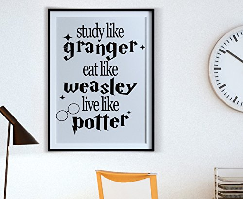 Study Like Granger Eat Like Weasley Live Like Potter Wall Decal Vinyl   Harry  Potter Inspired   Wall Decal   Vinyl Wall Art Sticker Decal   Decor Wall  Decal ...