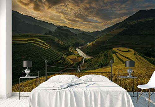 Photo wallpaper wall mural - Bali Valley Terraces Rice Fields - Theme Travel & Maps - XL - 12ft x 8ft 4in (WxH) - 4 Pieces - Printed on 130gsm Non-Woven Paper - 1X-935927V8 by Fotowalls Photo Wallpaper Murals