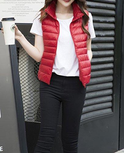 Zipp Red Gilet Vest Down Women's Winter Lightweight YueLian Outwear Autumn wEFqzHzR