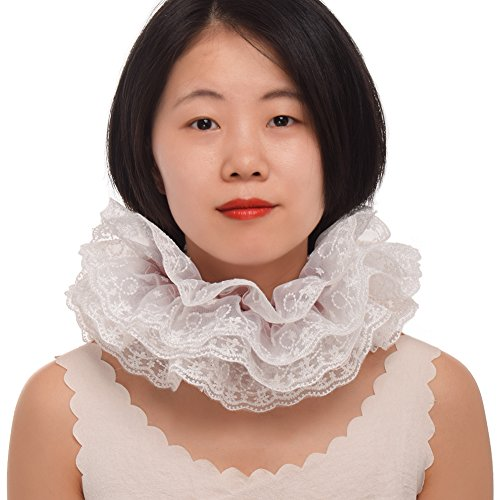 BLESSUME 1pc Lace Renaissance Neck Ruffle Collar (15.5