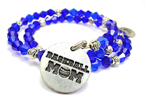 Chubby Chico Charms Baseball Mom Bicone Crystal Wrap Bracelet in Sapphire Blue