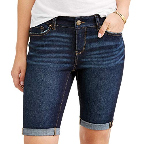 Time and Tru Women's Denim Jean Bermuda Shorts with Rolled Cuffs & 9.5