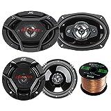 "Car Speaker Bundle Combo: 2x JVC DR620 6.5"" 2-Way 600 Watt And 2x DR6940 6x9"" Inch 1100-Watt 4-Way DR-Series Audio Coaxial Upgrade Speakers + Enrock 50 Foot 16 Guage Speaker Wire"
