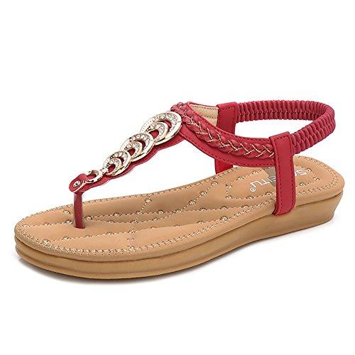 Wollanlily Women's Rhinestone Thong Elastic Sandals Summer Beach Bohemia T-Strap Flip Flops Flat Shoes(7 B(M) US,Red) -
