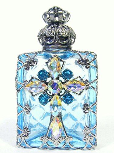 Czech Jeweled Decorative Blue Christian Cross Perfume Oil Bottle Holder