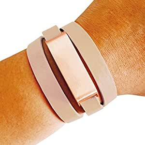Fitbit Bracelet for FitBit Flex Fitness Activity Trackers - The KATE Brushed Metal and Genuine Leather Wrap Buckle Fitbit Bracelet (Beige and Rose Gold, S/M)