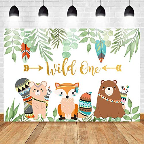 Mehofoto Wild One Backdrop Animal Tribal Party Background Animal Banner Party Backdrops Photography Background Studio Props 7X5ft Vinyl Booth Banner Decoration ()