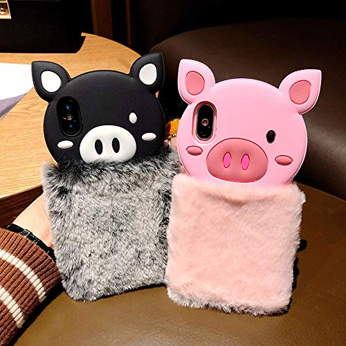 BONTOUJOUR iPhone XS Max Case, Super Cute Piggy Shape Phone Case Fur Plush Warm Pig case, Soft TPU Pig Case with Fur Body - Pink Fur - Soft Pigs