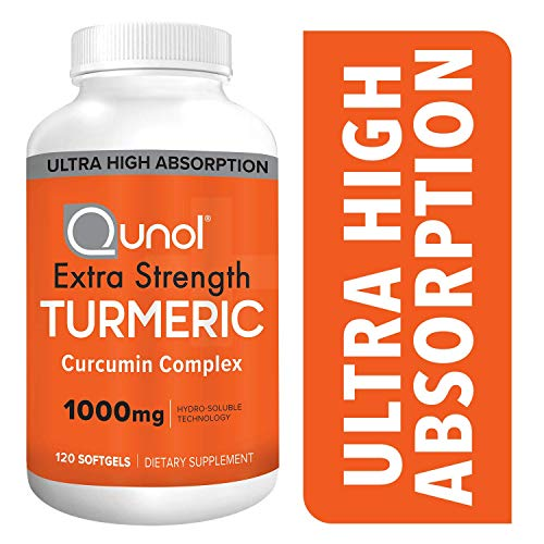 Turmeric Curcumin Softgels, Qunol with Ultra High Absorption 1000mg, Joint Support, Dietary Supplement, Extra Strength, 120 Count ()