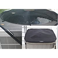 Universal Outdoor Air Conditioner Covers - PremierAcCovers - All-Season Package - HeavyDuty Winter and Summer ac covers included- 28x28 - Square - Black …