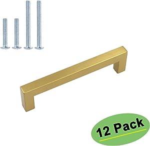 homdiy Brass Cabinet Pulls Gold Hardware 12 Pack - HDJ12GD Kitchen Cabinet Handles Brushed Brass Cabinet Pulls 3in(76mm) Hole Centers Dresser Drawer Handles, Cupboard Handles