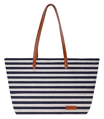 Amazon.com: Canvas Tote Bag ZLYC Women Strip Beach Bag Large ...
