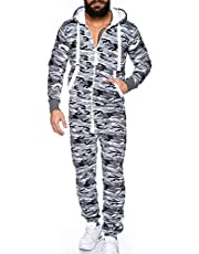 Men's One Piece Pyjamas, Unisex Onesie for Adults Jumpsuit One-Piece Garment Non Footed Pajama Playsuit Blouse Hoodie,White,L