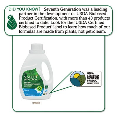 Natural 2X Concentrate Liquid Laundry Detergent, Free & Clear, 33 loads, 50 oz, Sold as 2 Each