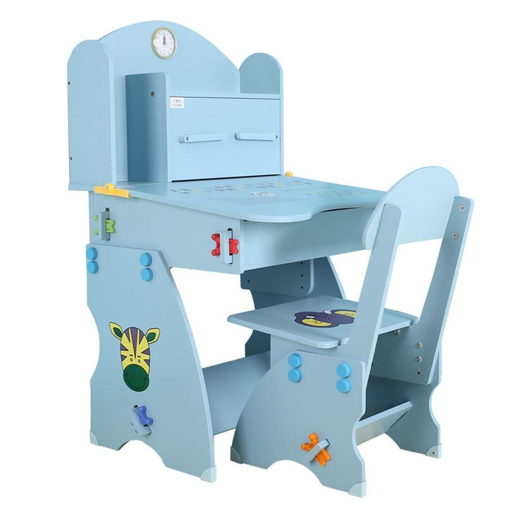 Dfghbn Scrivania e Sedia per Bambini Set Regolabile in Altezza per Bambini Studente Scuola scrivania scrivania Tavolo Stazione con stoccaggio del cassetto (colore   Blu, Dimensione   Taglia Unica)
