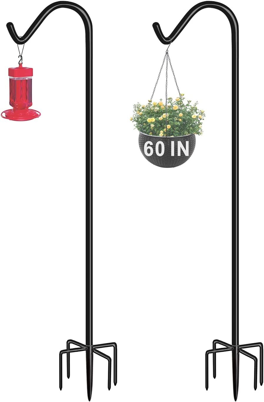 Eazielife Shepherds Hook for Outdoor Bird Feeders 60 Inch Tall, Adjustable Heavy Duty Garden Hanger Stake Pole with 5 Prong Base, Shiny Black (2 Packs)