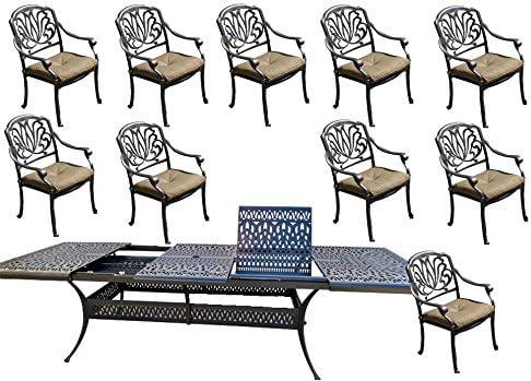 11 Piece Patio Dining Set Cast Aluminum Outdoor Furniture Elisabeth Rectangular Extendable Table 48 x 132.