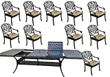 Cheap 11 Piece Patio Dining Set Cast Aluminum Outdoor Furniture Elisabeth Rectangular Extendable Table 48 x 132.