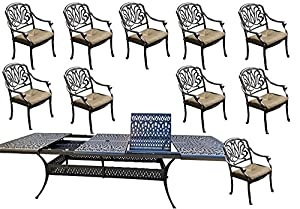 11 Piece Patio Dining Set Cast Aluminum Outdoor Furniture Elisabeth  Rectangular Extendable Table 48 X 132.
