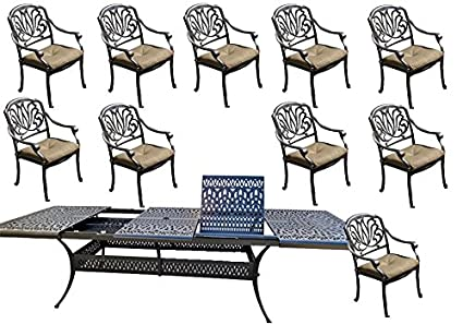 11 Piece Patio Dining Set Cast Aluminum Outdoor Furniture Elisabeth  Rectangular Extendable Table 48 X 132