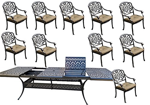 11 Piece Patio Dining Set Cast Aluminum Outdoor Furniture Elisabeth Rectangular Extendable Table 48 x 132. ()