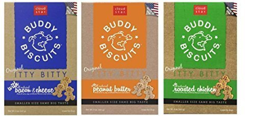 Buddy Biscuits Original Itty Bitty All Natural Treats For Dogs 3 Flavor Variety Bundle: (1) Buddy Biscuits Itty Bitty All Natural Peanut Butter, (1) Buddy Biscuits Itty Bitty All Natural Bacon Cheese, and (1) Buddy Biscuits All Natural Roasted Chicken, 8