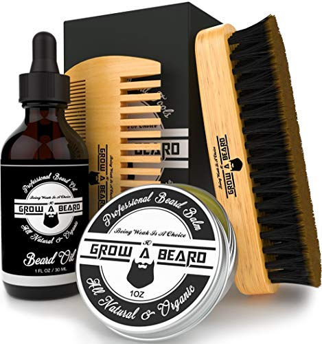 Beard Brush, Beard Oil, Beard Balm, & Beard Comb Grooming Kit for Men's Care, Travel Bamboo Facial Hair Set for Growth, Styling, Shine & Softness, Great Gifts for Him