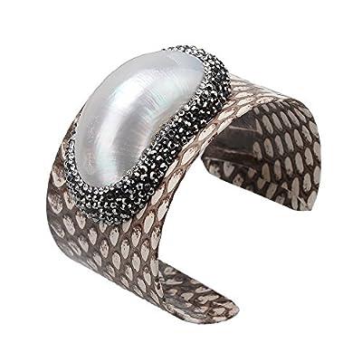 Jeka Genuine Leather Bangle Cuff Bracelet Fashion Jewelry for Women Diamond Charm Punk Wrap Adjustable Brown/Black
