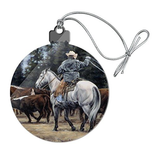 (GRAPHICS & MORE Ranch Cowboy Cattle Drive Roundup Acrylic Christmas Tree Holiday Ornament )