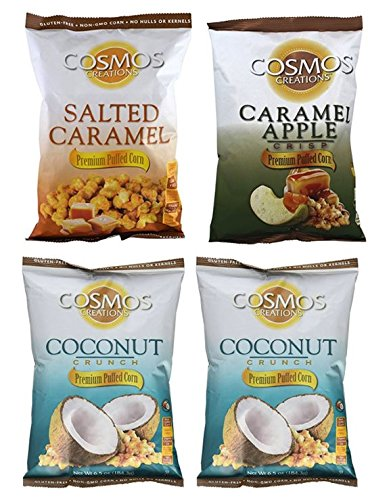 Cosmos Creations Variety Pack (2) Puffed Corn Coconut Crunch 6.5oz (1) Puffed Salted Caramel 6.5oz (1) Caramel Apple 6 oz (Variety 4 Pack)