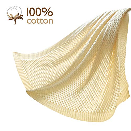 Pumpkin Town Cream 100% Cotton Cable Knit Throw Blanket for Soft Sofa, Chair, Couch, Picnic, Camping, Beach, Home Decorative Knitted Blanket, 50
