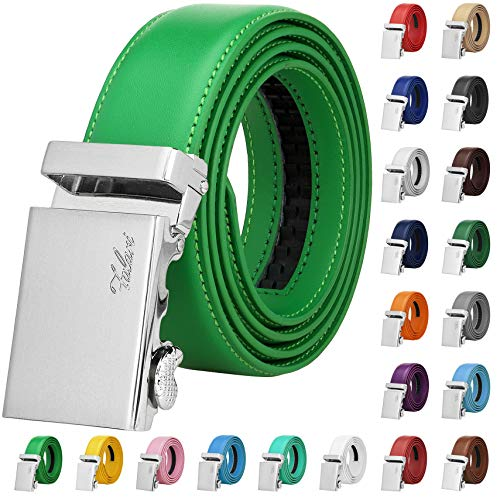 Falari Men Unisex Genuine Leather Ratchet Dress Belt Automatic Sliding Buckle - 20 Variety Colors - Trim to Fit (8170 - Kelly Green, XL - Fit from waist 28 to 42