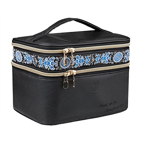 EN'DA Double Layer Make up Travel Cosmetic Bags with Elegant Embroidery-Black Medium size