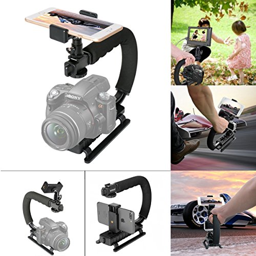 2in1 Portable Action Camera+Smartphone SYN Video Kit Ergonomic Hand Grip Stabilizer Motion Camcorder Handle Mount We-Media YouTube Livestream Vlog Rig Holder Compatible for GoPro Sony iPhone